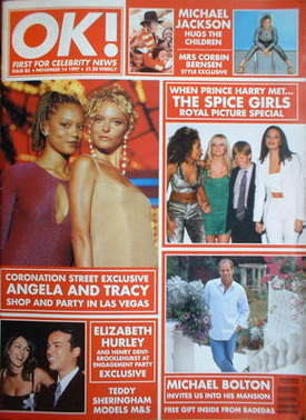 <!--1997-11-14-->OK! magazine - Angela Griffin and Tracy Shaw cover (14 Nov