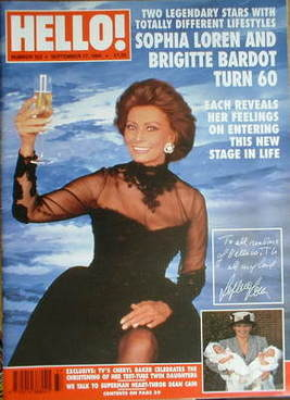 <!--1994-09-17-->Hello! magazine - Sophia Loren cover (17 September 1994 -