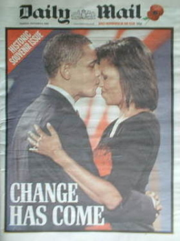 Daily Mail newspaper - Barack Obama cover (6 November 2008)