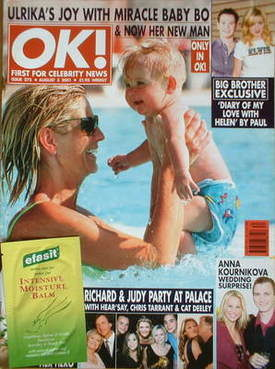<!--2001-08-03-->OK! magazine - Ulrika Jonsson cover (3 August 2001 - Issue