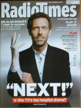 <!--2007-03-24-->Radio Times magazine - Hugh Laurie cover (24-30 March 2007