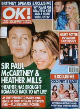 OK! magazine - Sir Paul McCartney and Heather Mills cover (15 November 2001 - Issue 290)
