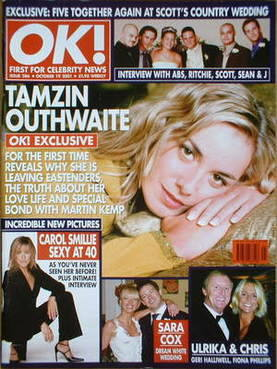 <!--2001-10-19-->OK! magazine - Tamzin Outhwaite cover (19 October 2001 - I