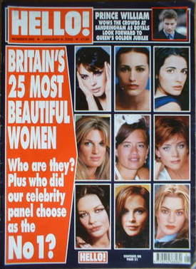<!--2002-01-08-->Hello! magazine - Britain's 25 Most Beautiful Women cover