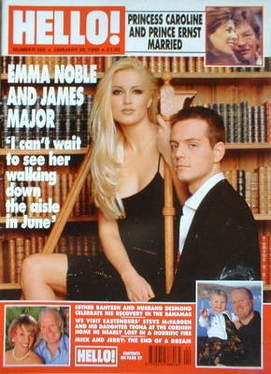 <!--1999-01-30-->Hello! magazine - Emma Noble and James Major cover (30 Jan