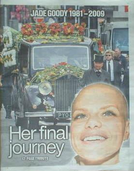 The Sun newspaper supplement - Jade Goody (6 April 2009)