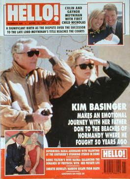 <!--1994-04-16-->Hello! magazine - Kim Basinger cover (16 April 1994 - Issu