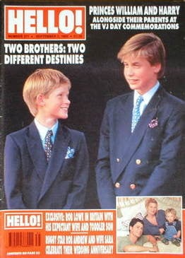 <!--1995-09-02-->Hello! magazine - Prince William and Prince Harry cover (2