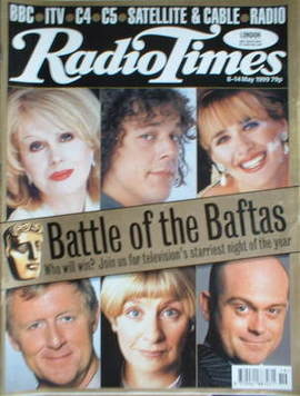 <!--1999-05-08-->Radio Times magazine - Battle of the Baftas cover (8-14 Ma