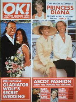 OK! magazine - Ascot Fashion / Wolf wedding cover (20 June 1997 - Issue 64)