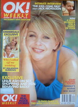 <!--1996-07-28-->OK! magazine - Leslie Ash cover (28 July 1996 - Issue 19)