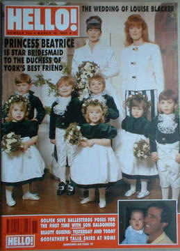 <!--1991-03-16-->Hello! magazine - Louise Blacker wedding cover (16 March 1