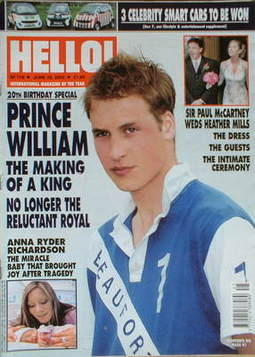 <!--2002-06-25-->Hello! magazine - Prince William cover (25 June 2002 - Iss