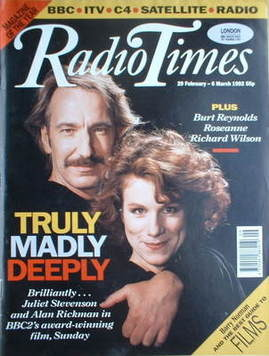<!--1992-02-29-->Radio Times magazine - Alan Rickman and Juliet Stevenson c