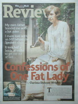 The Mail On Sunday Review newspaper supplement - Clarissa Dickson Wright co