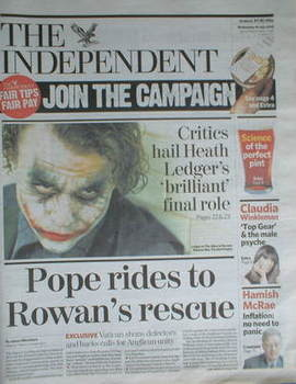 The Independent newspaper - Heath Ledger cover (16 July 2008)