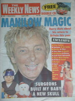 The Weekly News newspaper - Barry Manilow cover (9 August 2008)