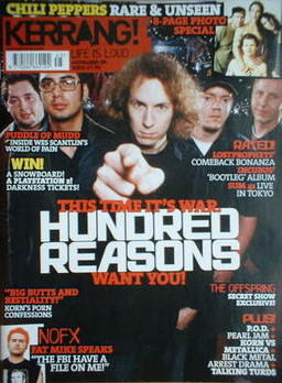 <!--2003-11-08-->Kerrang magazine - Hundred Reasons cover (8 November 2003