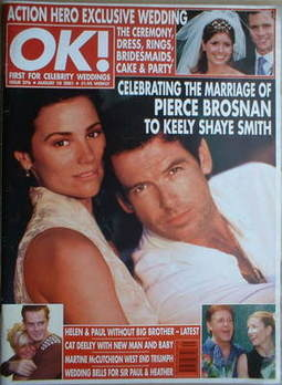 <!--2001-08-10-->OK! magazine - Pierce Brosnan and Keely Shaye Smith cover