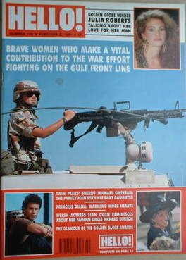 <!--1991-02-02-->Hello! magazine - Gulf Front Line cover (2 February 1991 -