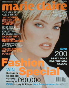 British Marie Claire magazine - February 1996 - Linda Evangelista cover