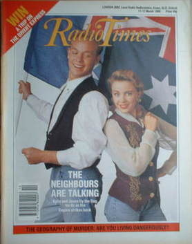 <!--1989-03-11-->Radio Times magazine - Kylie Minogue and Jason Donovan cov