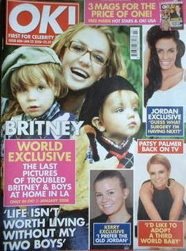 <!--2008-01-22-->OK! magazine - Britney Spears and sons cover (22 January 2