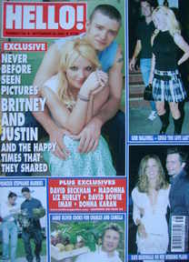 <!--2003-09-30-->Hello! magazine - Britney Spears and Justin Timberlake cov