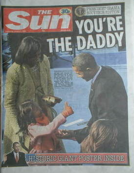 The Sun newspaper - Barack Obama cover (21 January 2009)