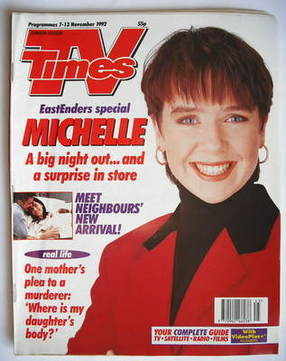 <!--1992-11-07-->TV Times magazine - Susan Tully cover (7-13 November 1992)