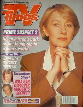 <!--1992-12-12-->TV Times magazine - Helen Mirren cover (12-18 December 199