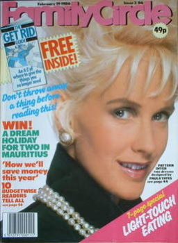 Family Circle magazine - 19 February 1986 - Paula Yates cover