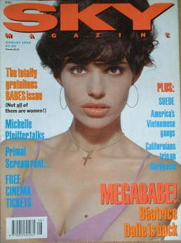 <!--1992-08-->Sky magazine - Beatrice Dalle cover (August 1992)