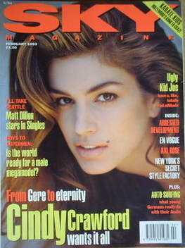 <!--1993-02-->Sky magazine - Cindy Crawford cover (February 1993)