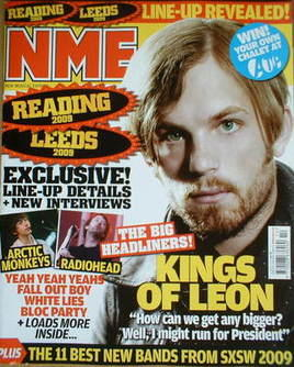 <!--2009-04-04-->NME magazine - Kings Of Leon cover (4 April 2009)