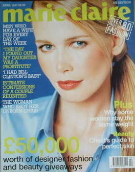 British Marie Claire magazine - April 1997 - Claudia Schiffer cover