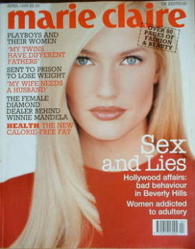 British Marie Claire magazine - April 1996 - Karen Mulder cover