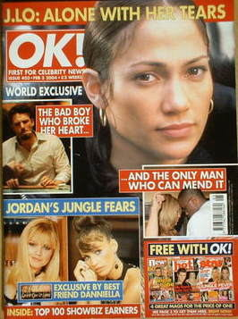 <!--2004-02-03-->OK! magazine - Jennifer Lopez cover (3 February 2004 - Iss