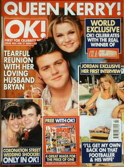 <!--2004-02-17-->OK! magazine - Kerry Katona and Bryan McFadden cover (17 F