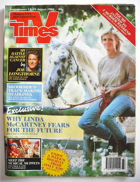 <!--1989-08-12-->TV Times magazine - Linda McCartney cover (12-18 August 19