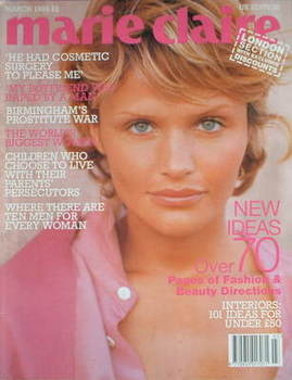 British Marie Claire magazine - March 1995 - Helena Christensen cover