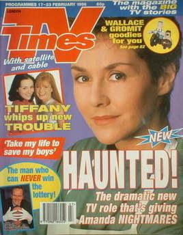 <!--1996-02-17-->TV Times magazine - Amanda Burton cover (17-23 February 19