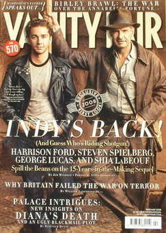 Vanity Fair magazine - Shia LaBeouf and Harrison Ford cover (February 2008)