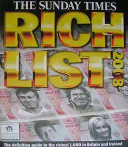 The Sunday Times Rich List 2008 magazine