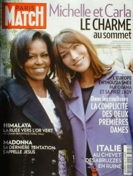 Paris Match magazine - 9-15 April 2009 - Michelle Obama and Carla Bruni-Sarkozy cover