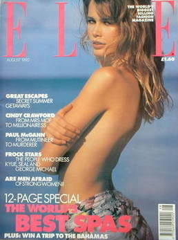 British Elle magazine - August 1992 - Claudia Schiffer cover