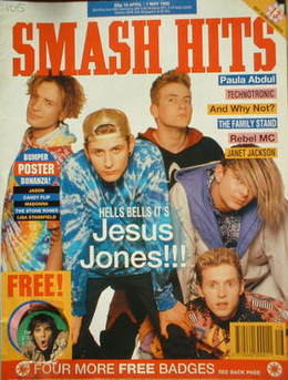 <!--1990-04-18-->Smash Hits magazine - Jesus Jones cover (18 April-1 May 19