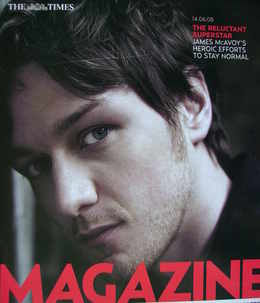 <!--2008-06-14-->The Times magazine - James McAvoy cover (14 June 2008)