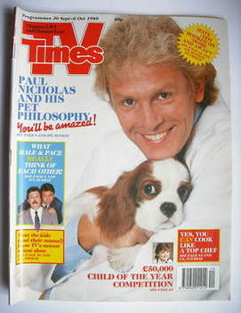 <!--1989-09-30-->TV Times magazine - Paul Nicholas cover (30 September-6 Oc