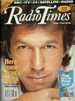 <!--1992-05-30-->Radio Times magazine - Imran Khan cover (30 May-5 June 199